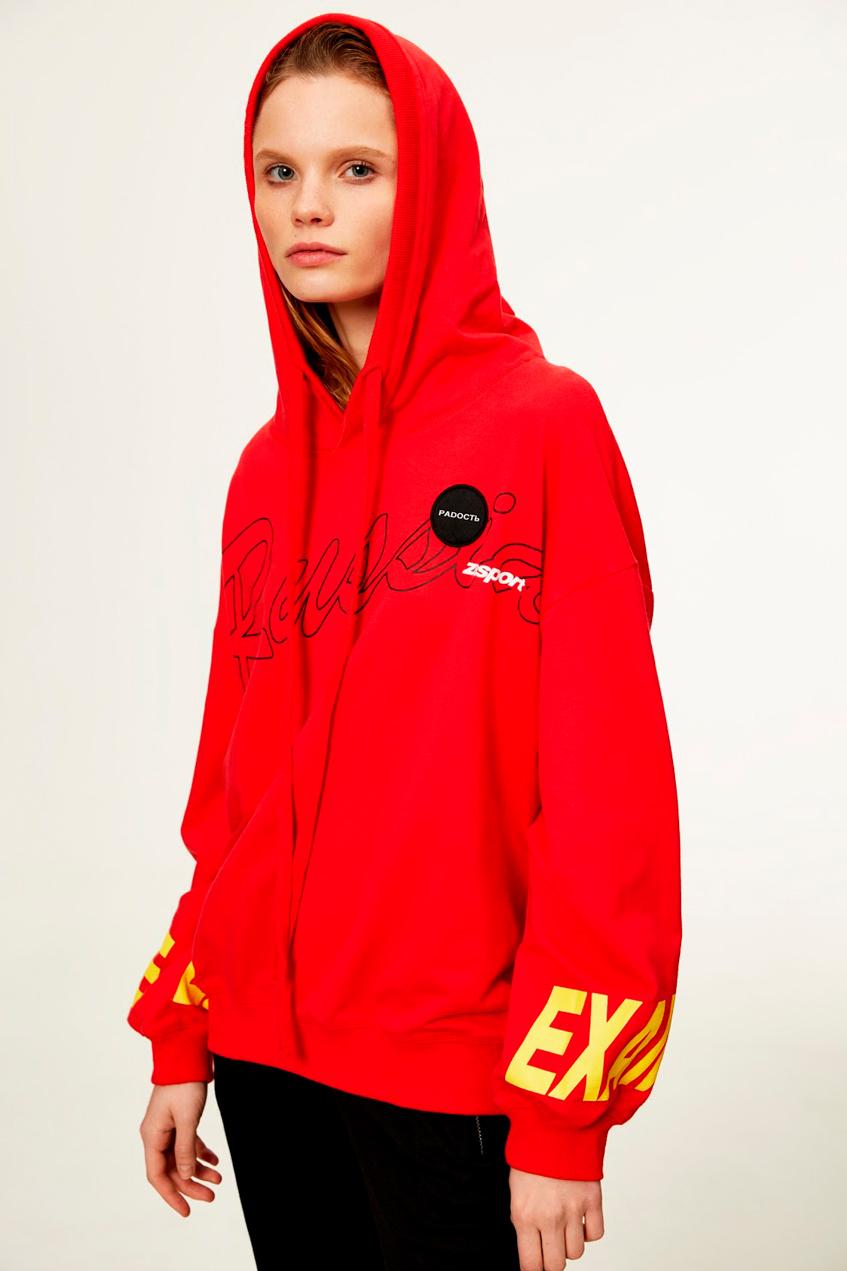 кофта с капюшоном женская красная Zasport