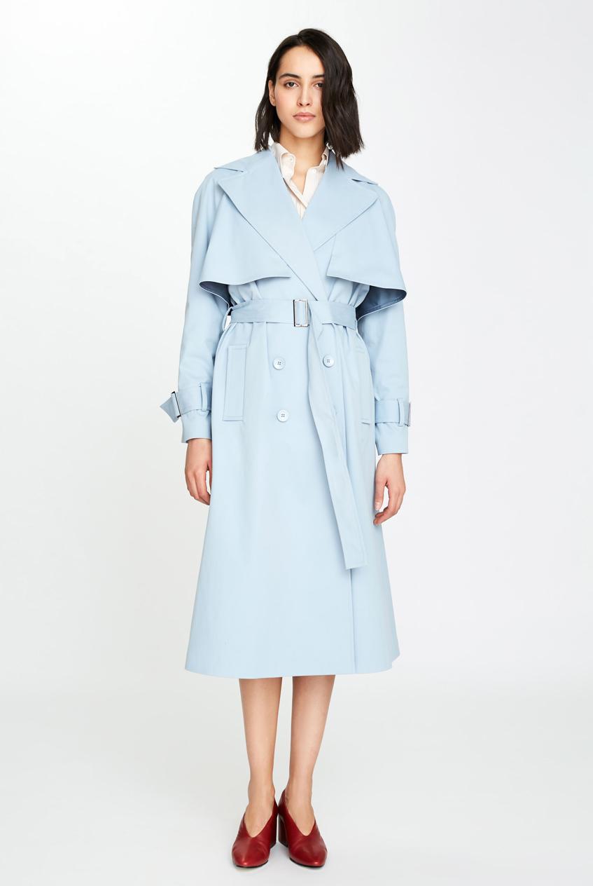 женское голубое пальто