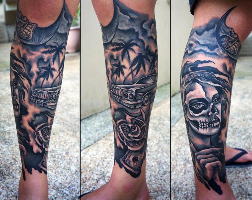 татуировка на ноге череп