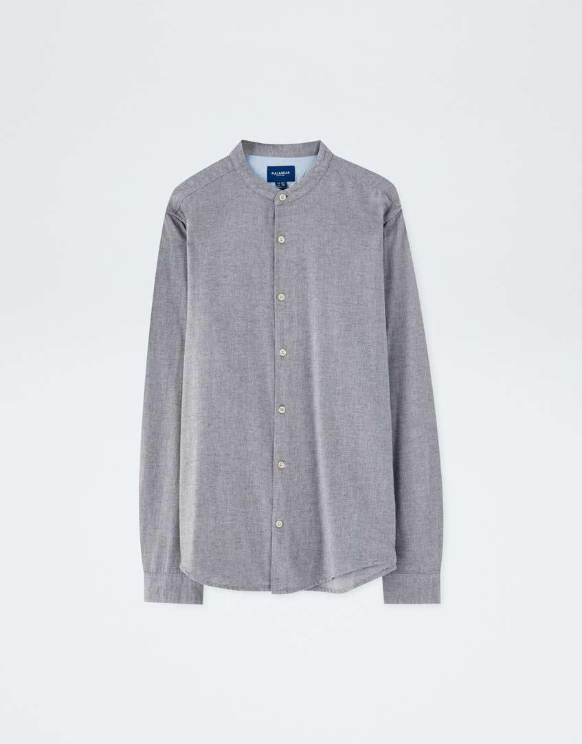 серая сорочка Pull & Bear
