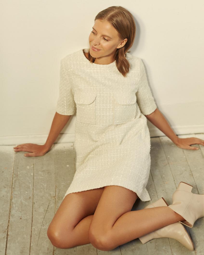 белое платье с рукавом три четверти 12Storeez