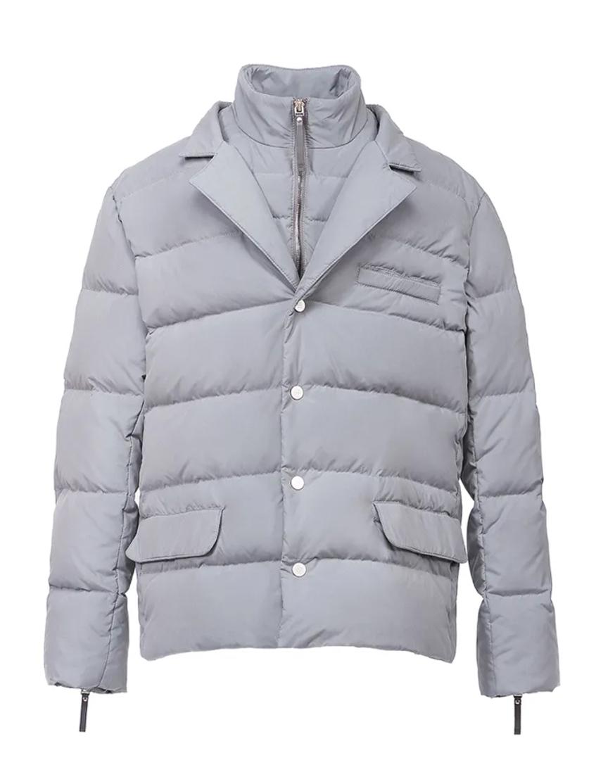 серый пуховик-пиджак 88 Piuma E Piumaggio