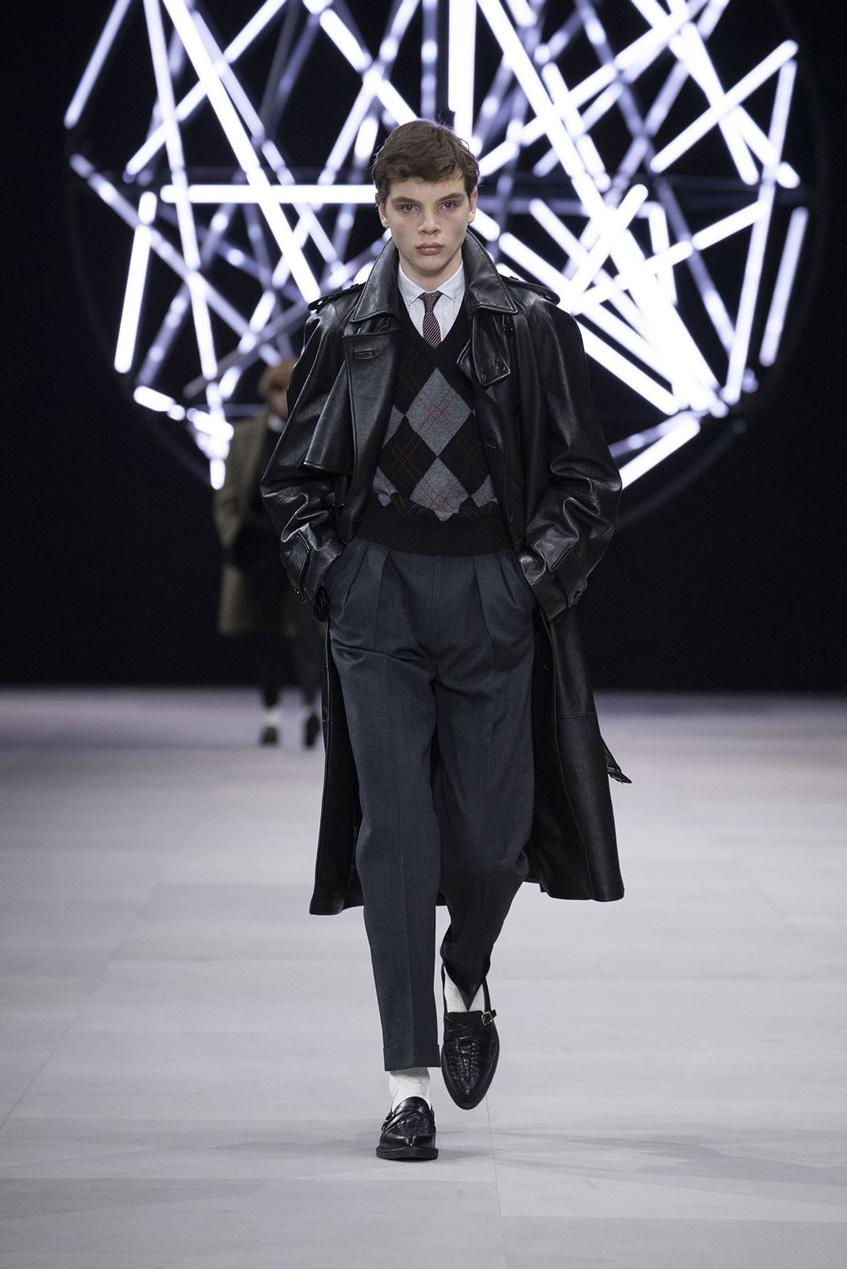 черное мужское кожаное пальто Céline