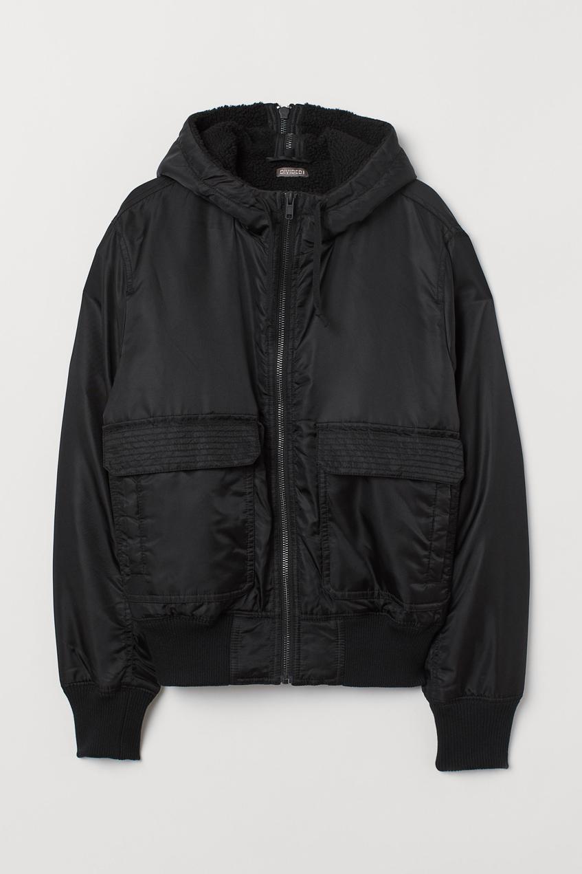 черный мужской бомбер H&M 2019
