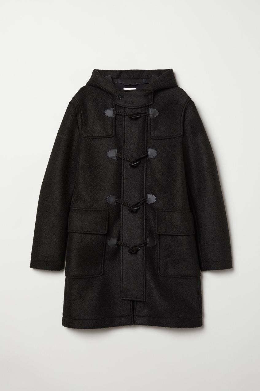 черное мужское пальто дафлкот H&M