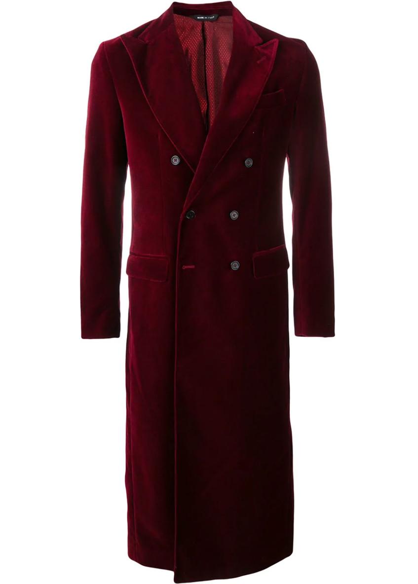 мужское бардовое длинное пальто Kappa