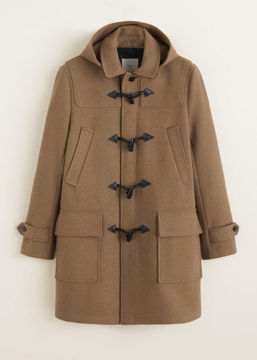 бежевое мужское пальто дафлкот Mango