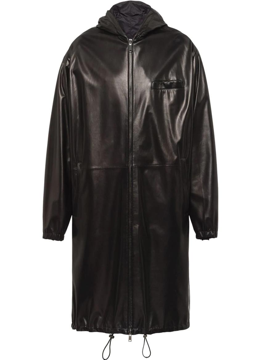 мужское кожаное пальто Prada