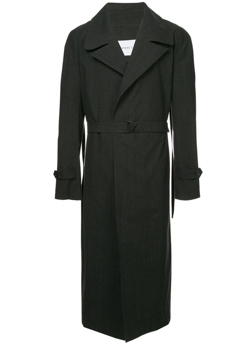 мужское черное длинное пальто Strateas Carlucci