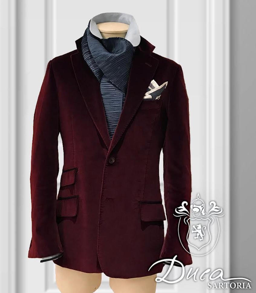 Duca Sartoria бордовый вельветовый пиджак