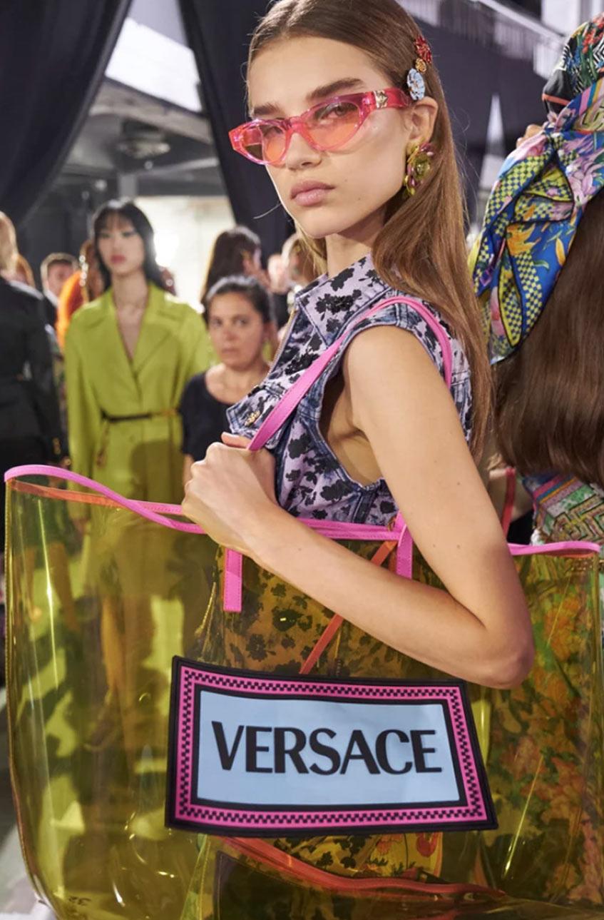 прозрачная сумка авоська Versace