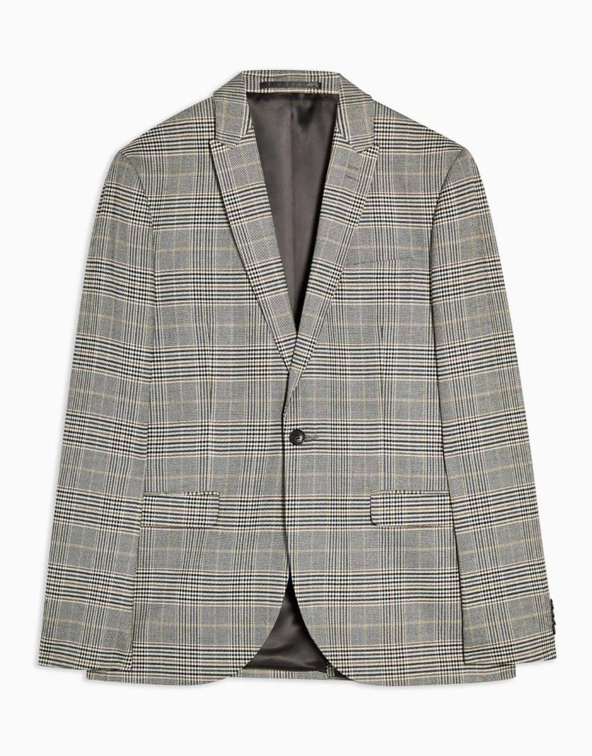 клетчатый серый пиджак Topman