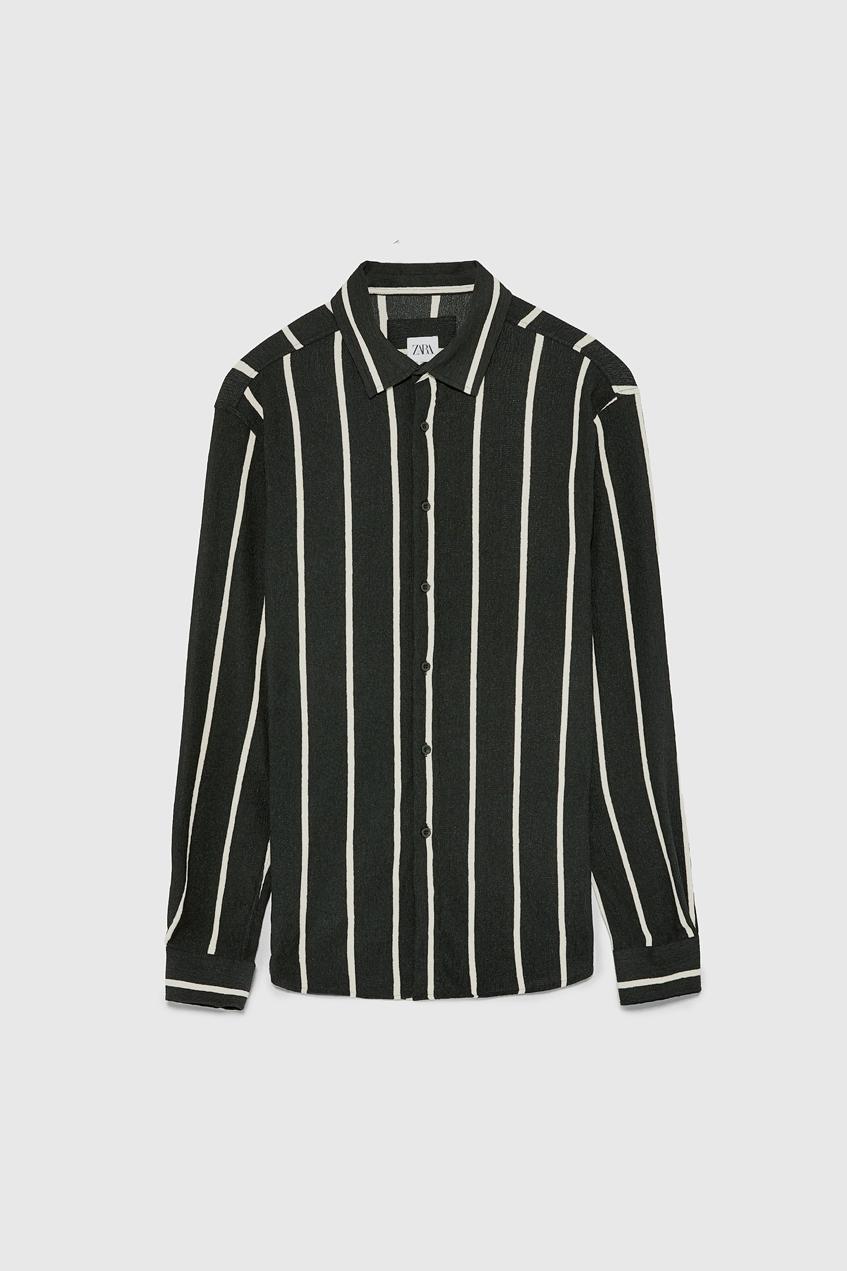 полосатая рубашка черно-белая Zara