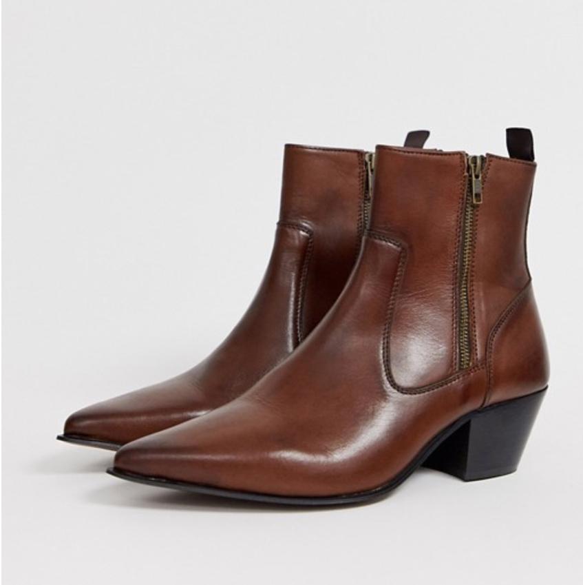 ботинки мужские казаки коричневые Asos