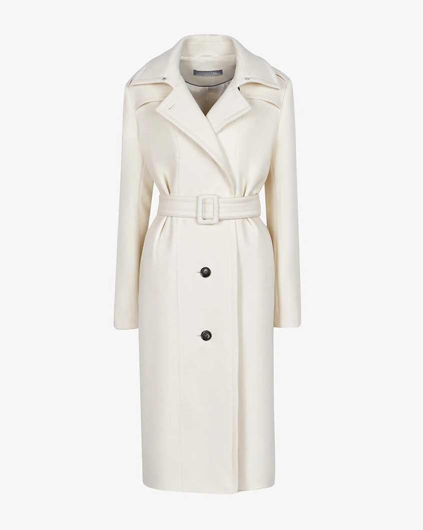 белое длинное пальто с поясом 12storeez