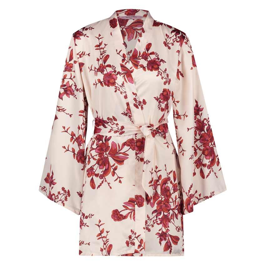 шелковый халат с цветочным принтом