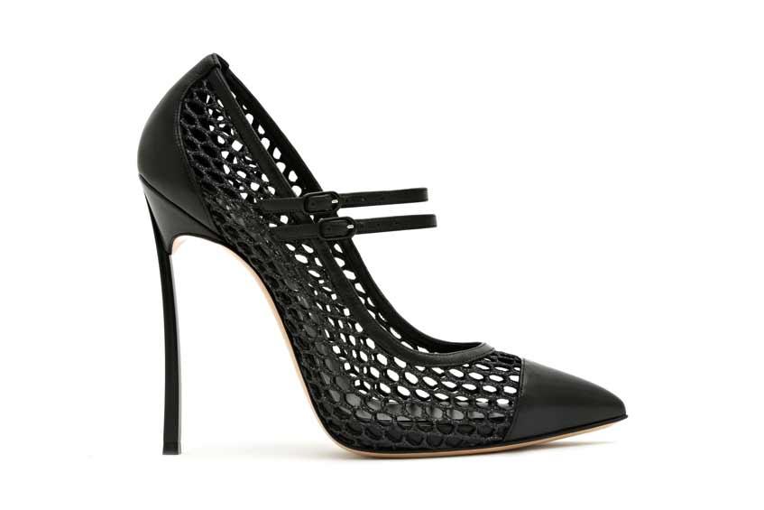 черные туфли в сетку casadei