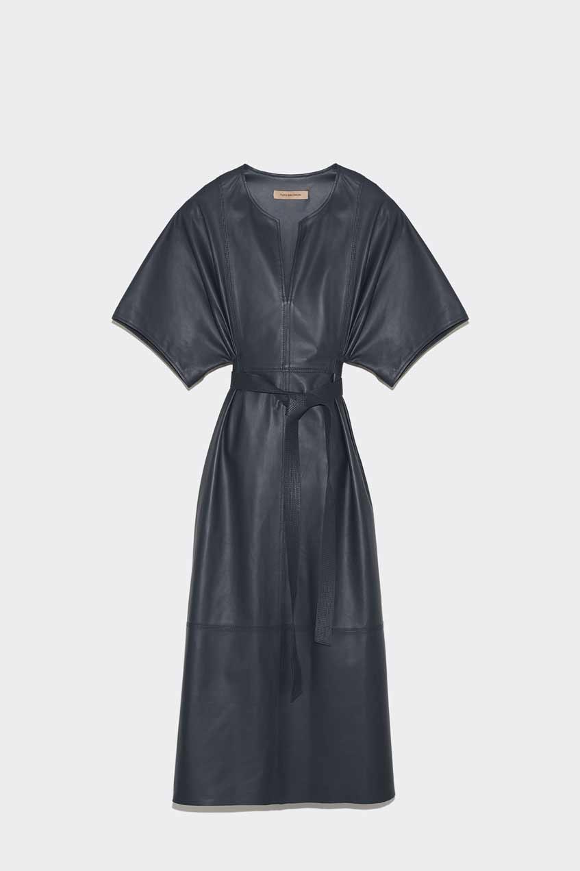 кожаное платье yves salomon