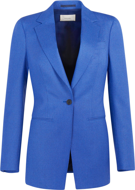 женский голубой пиджка suitsupply