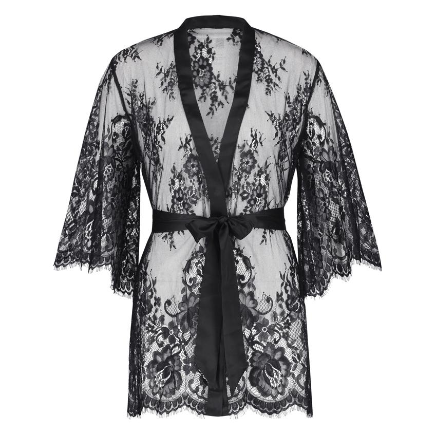 черный кружевной халат