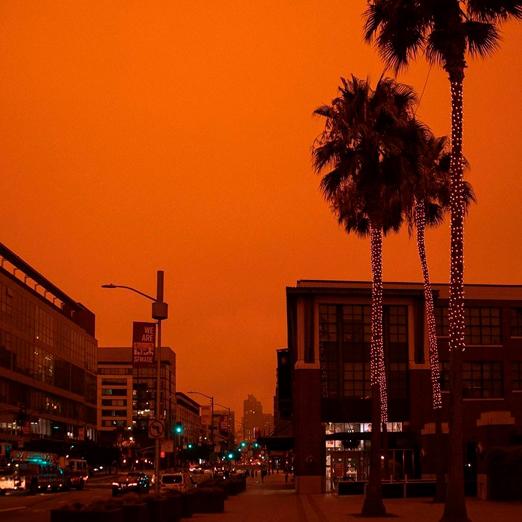 оранжевое небо в калифорнии