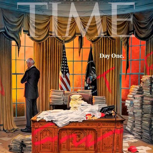 Журнал Time выйдет с иллюстрацией первого дня Джо Байдена в должности президента