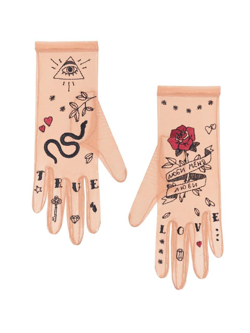 модные перчатки с принтом