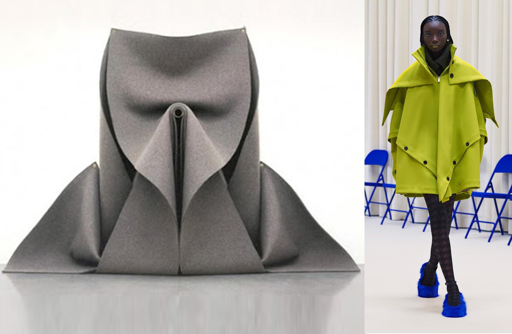 Скульптура из фетра без названия, Роберт Моррис, 1976; Nina Ricci осень-зима 21/22