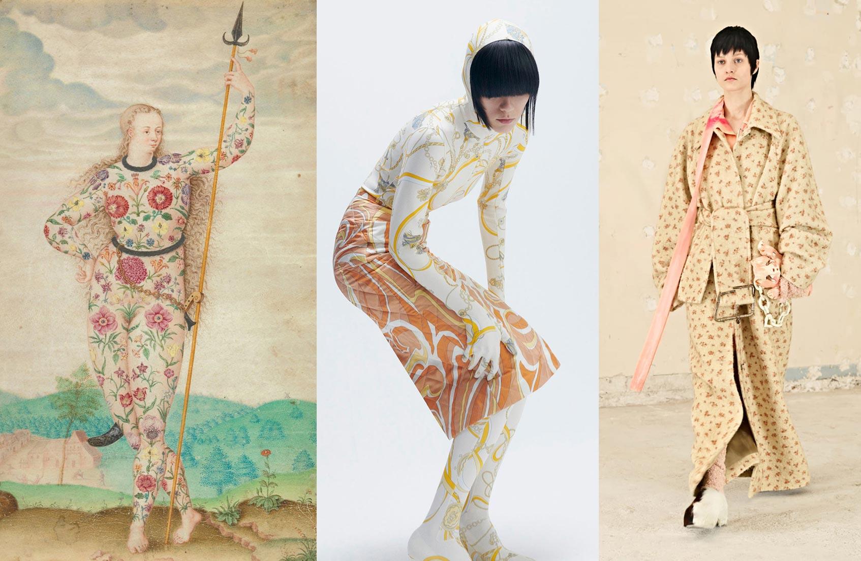«Юная дочь пиктов» Жак Ле Муан, около 1533; Emilio Pucci, Acne Studious, все – осень-зима 21/22
